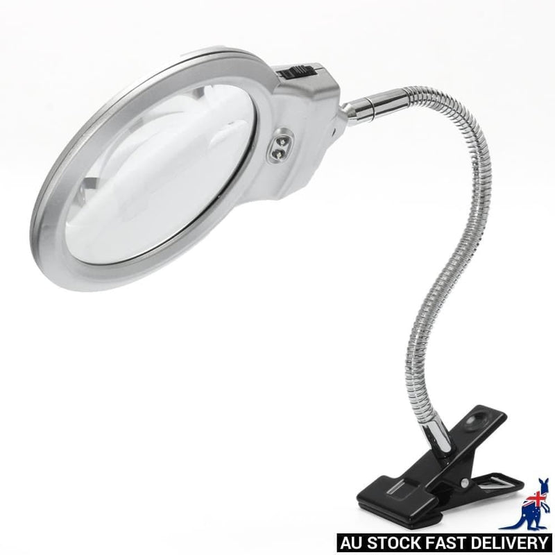 New 2.5 X 90mm 5 22mm 2 Led Lighted Table top Desk Magnifier