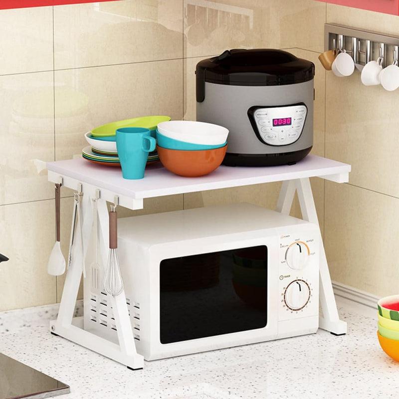 2 Tier Adjustable Microwave Oven Rack Detachable Kitchen