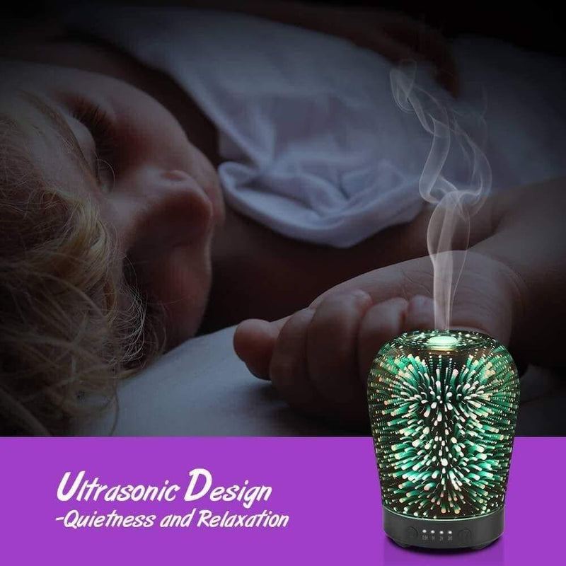 3dglass Essential Oil Diffuser 100ml Modes Firework Theme