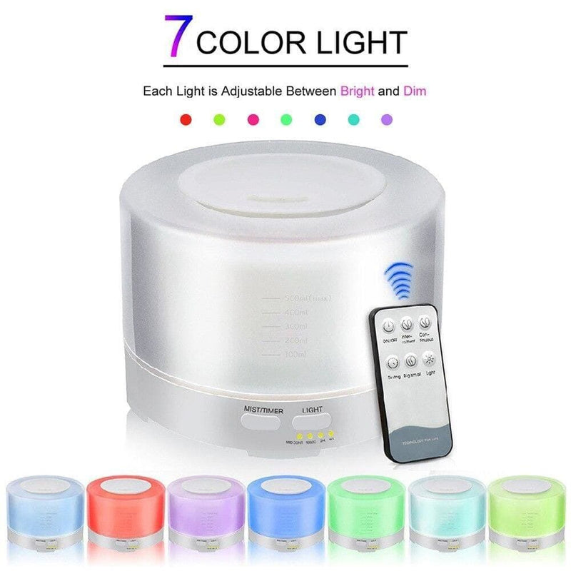 500ml Remote Control Ultrasonic Air Aroma Humidifier with 7