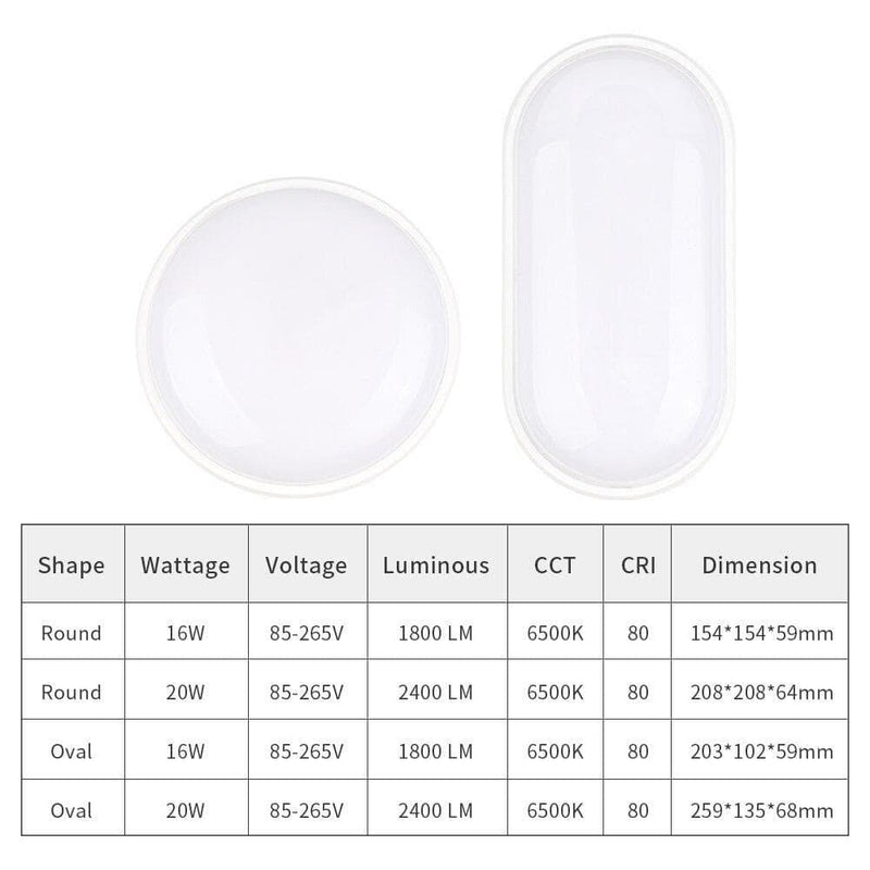 Ac85-265v 16w 20w Led Wall Lamp Moistureproof Porch Light