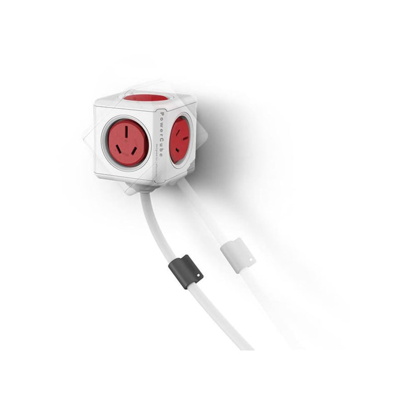 Allocacoc Powercube Extended Boston Red 5 Outlets with 3m