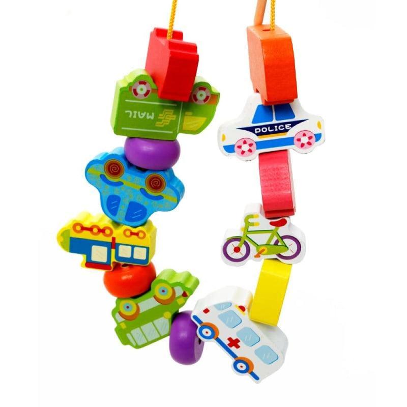 Beaded Vehicle Blocks Wooden Educational Toy