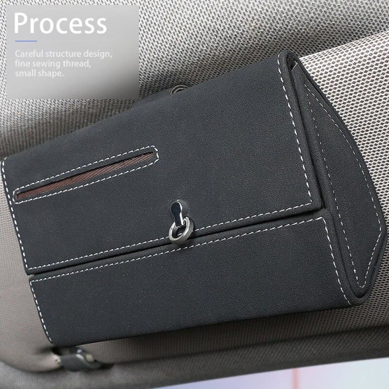 Car Sun Visor Storage Box Pu Leather Auto Sunglass