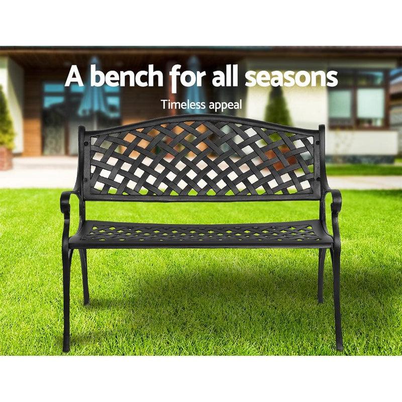 Gardeon Garden Bench Outdoor Seat Chair, Black Cast Aluminium Garden Bench