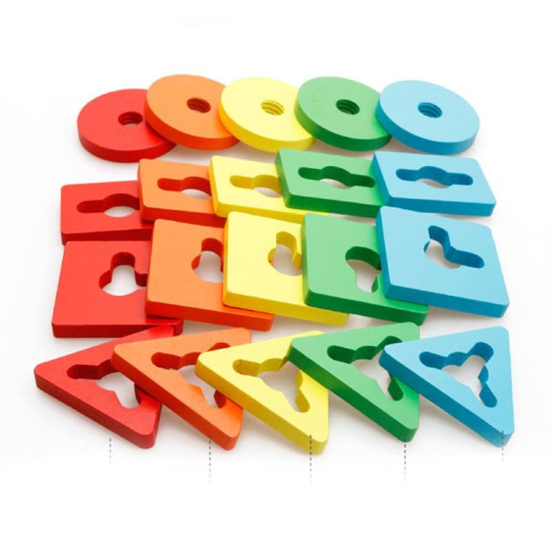 Geometric Assembling Blocks Wooden Toys