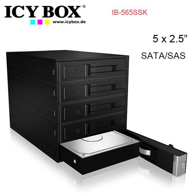 Icy Box Backplane for 5x 3.5 Sata or Sas Hdd in 3x 5.25 Bay