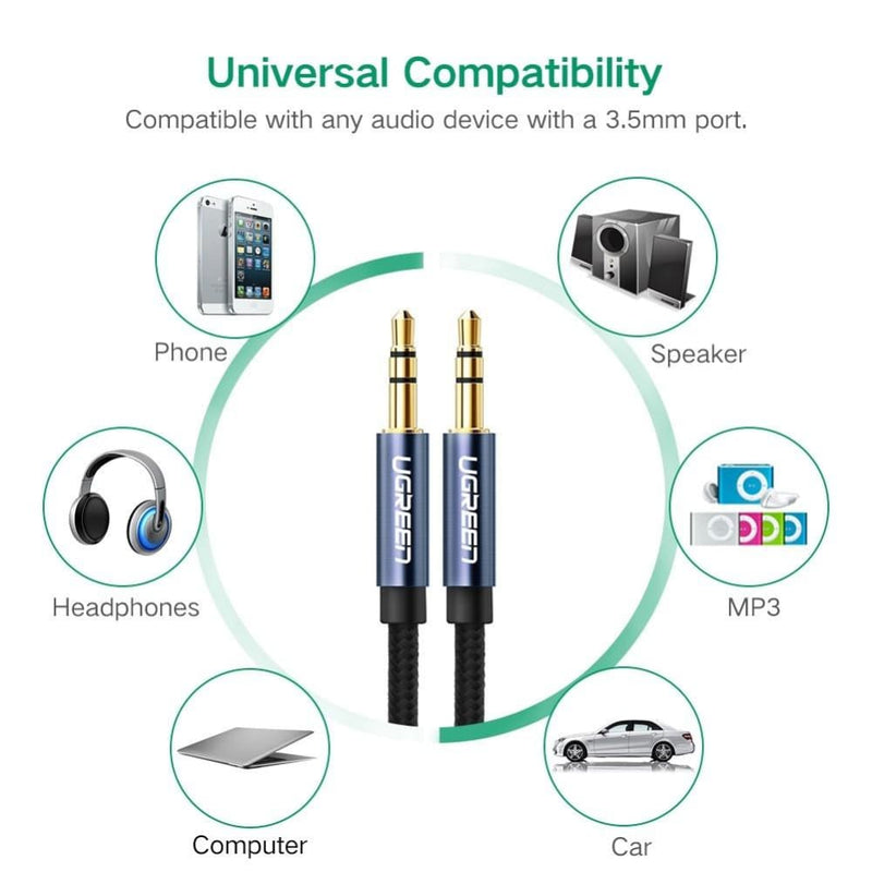 Ugreen 3.5mm Male to Audio Cable White 2m 50368
