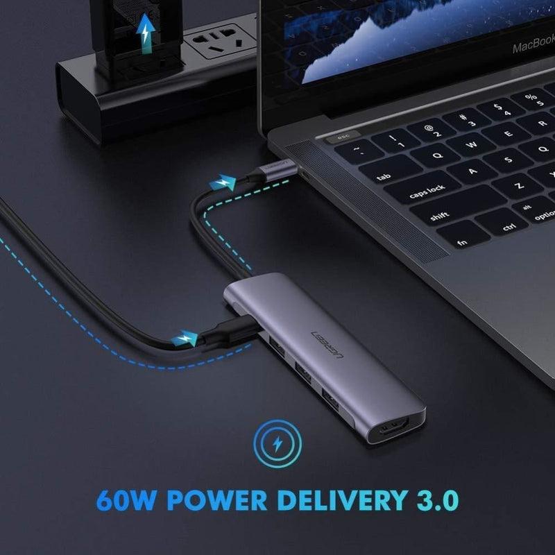 Ugreen Typec 5 in 1 Adaptor - Hdmi + Usb 3.0*3 + Pd Power
