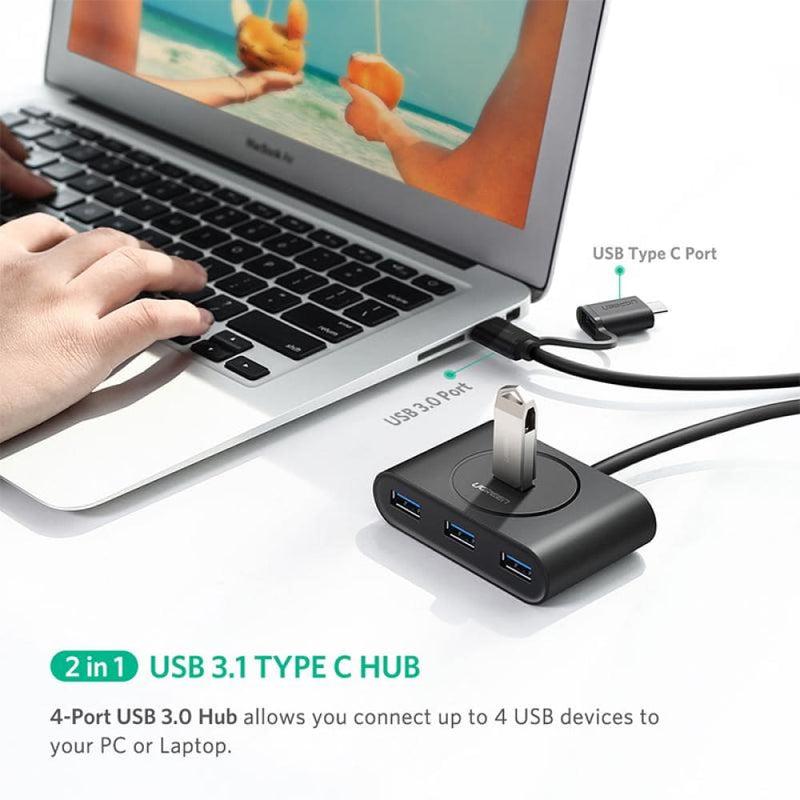 Ugreen Usb 3.0 Hub with Type C Port Black 1m (40850)