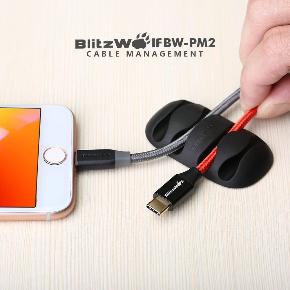 Blitzwolf® Bw-pm2 4pcs Tpu Multipurpose Cable Clip Cord