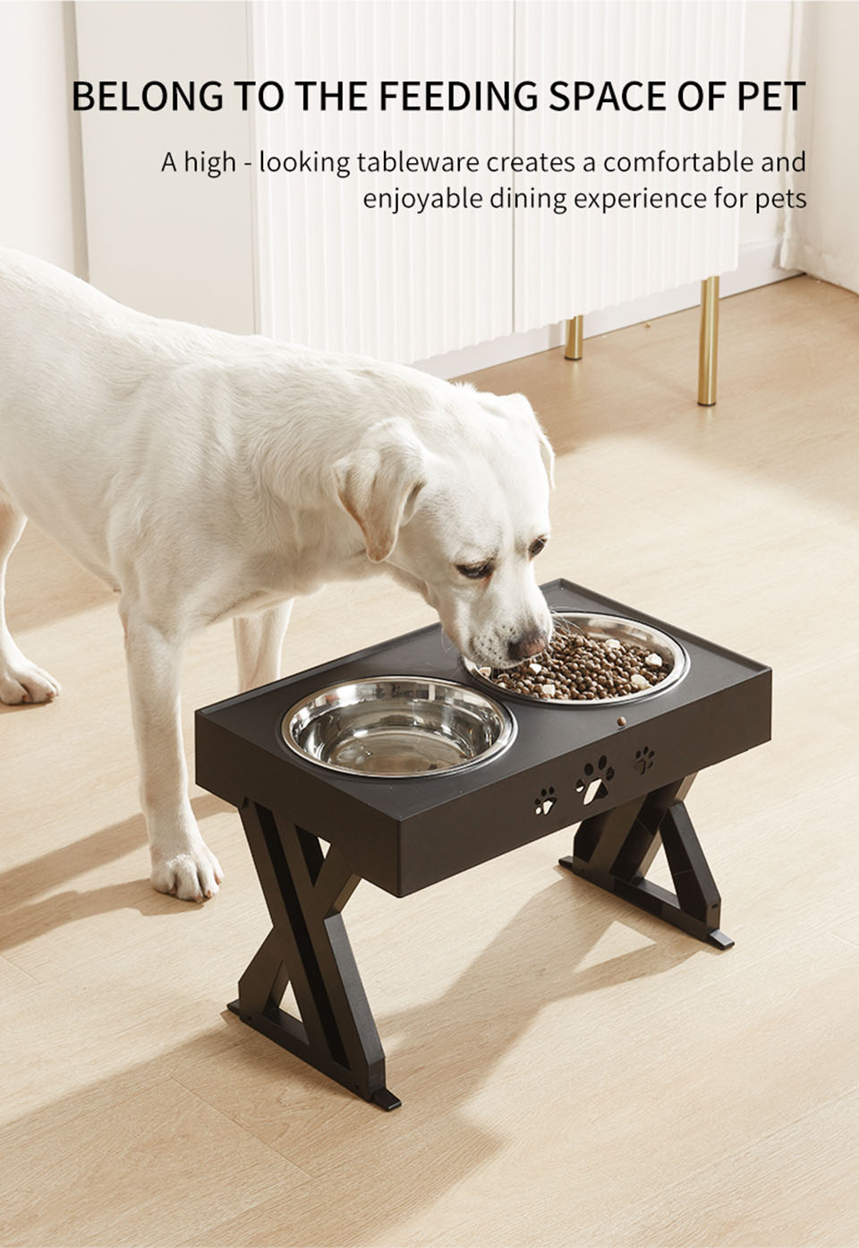 Dogs Double Non-Slip Bowl Adjustable Heights Pet Cat Food